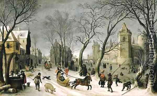 Winter Landscape The Outskirts of Antwerp by Sebastien Vrancx