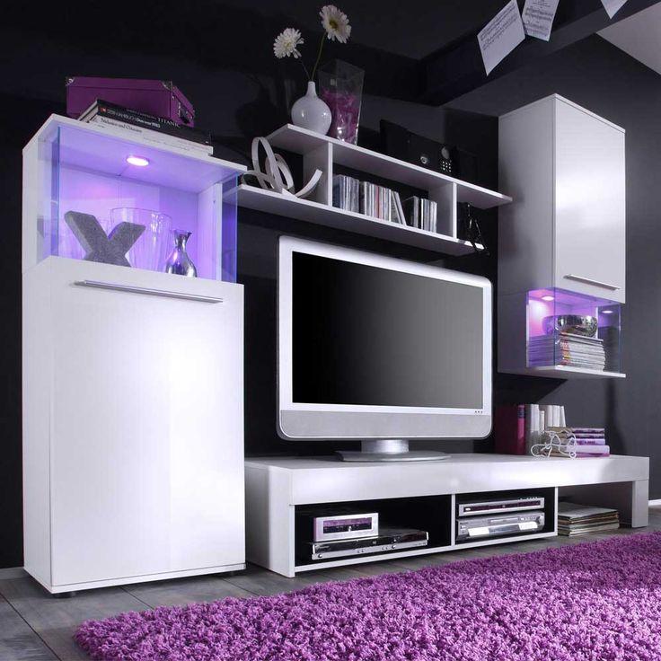 schrankwand in wei chic 4 teilig wohnzimmerschrankwohnwandanbauwand wohnwand - Wohnwand Modern Klein