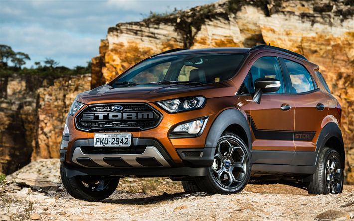Download wallpapers Ford EcoSport Storm, 4k, 2018 cars, offroad, Ford EcoSport, Ford