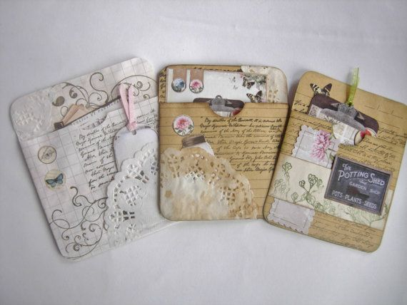 Handmade Junk Journal pockets with tags by CraftRain on Etsy