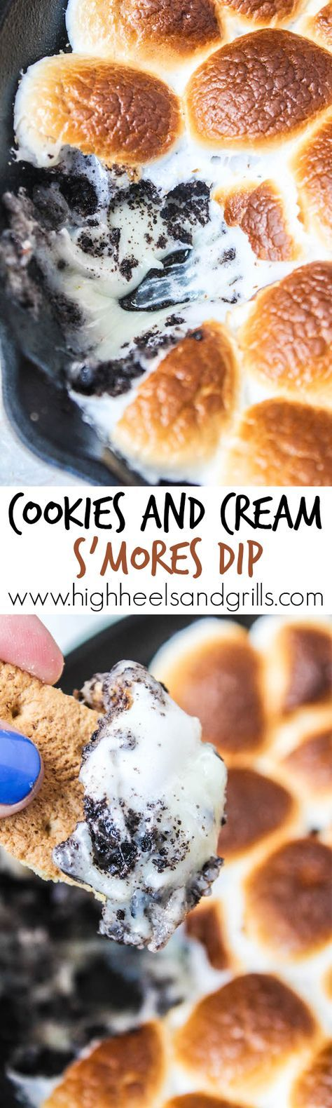Cookies and Cream Smores Dip - White chocolate chips, crushed Oreos, and toasted marshmallows. Dip with graham crackers to fully enjoy this amazing dessert! http://www.highheelsandgrills.com/cookies-and-cream-smores-dip/
