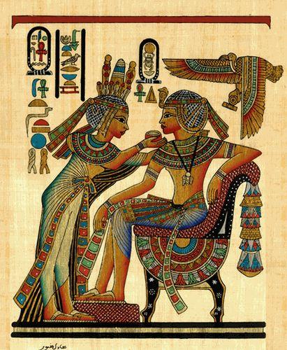 Tutankhamun And His Beautiful Wife Papyrus
