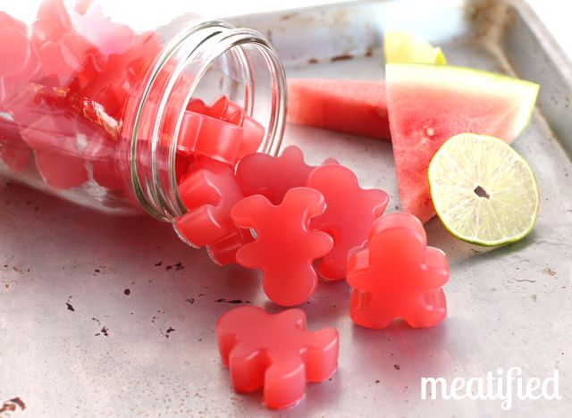 Sour Watermelon Homemade Gummies from http://meatified.com - just 4 ingredients or less! #paleo #gummies #glutenfree