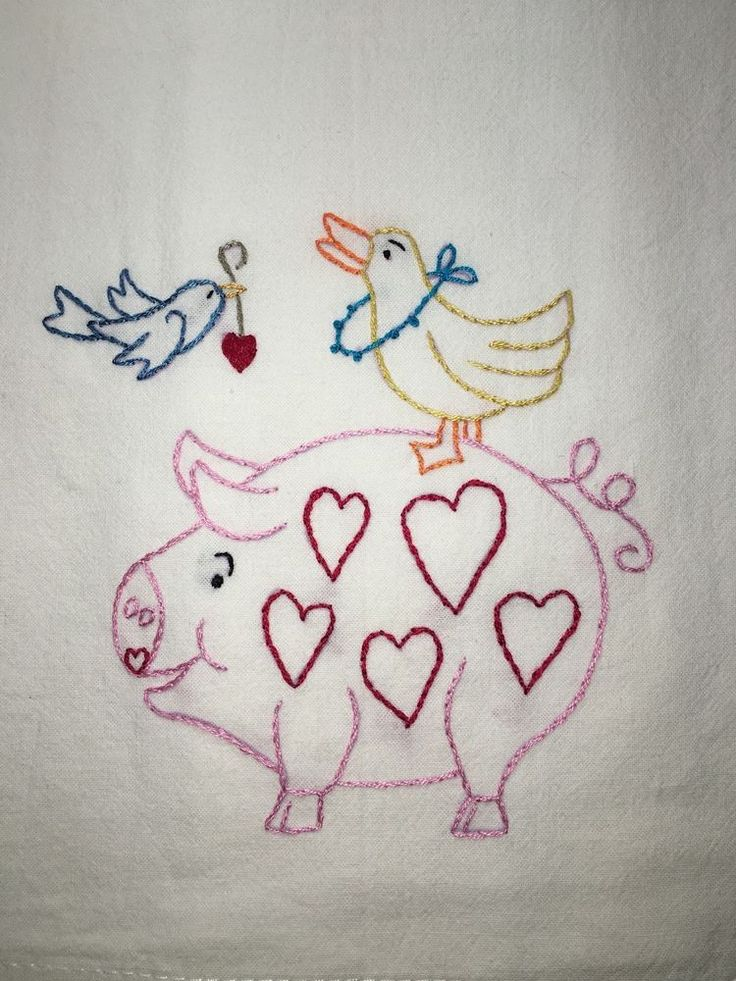 PIG & DUCK - NEW Hand embroidered 18 X 25 flour sack dish towel #Handembroideredwithallnewmaterials