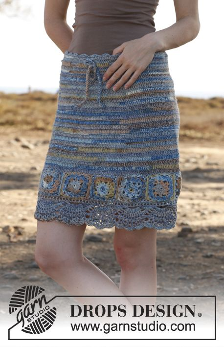 "Crochet DROPS skirt with squares in ""Fabel"". Size: S - XXXL. ~ DROPS Design"