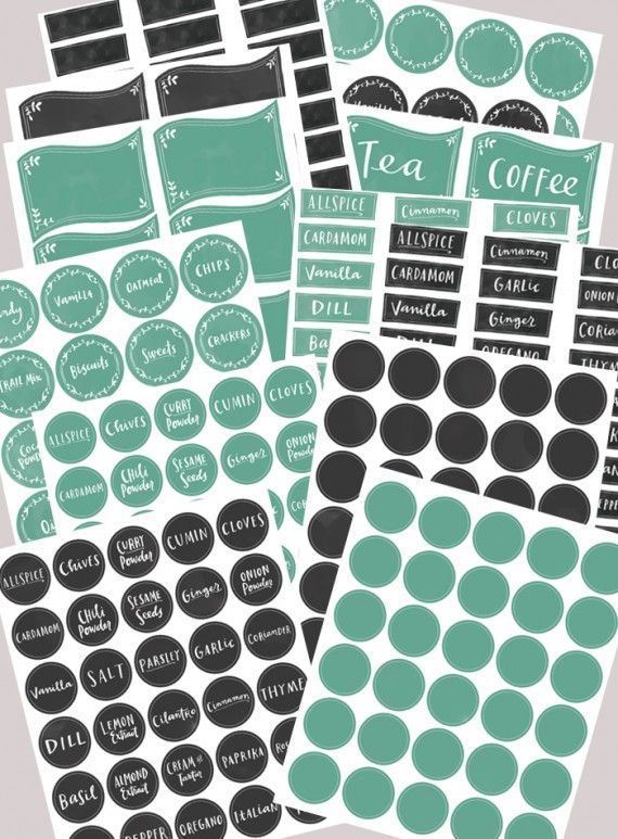 Pantry and Kitchen organizing labels including Spice Jar -- Free Printables