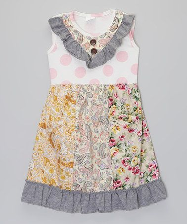 Another great find on #zulily! Pink & Gray Floral & Polka Dot Ruffle Dress - Toddler & Girls #zulilyfinds
