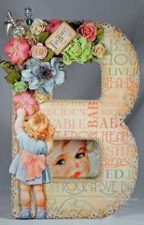 Beautiful for Baby Shower or Welcoming Home Wreath for front door.B is for Baby - gorgeous- by Susan Killam