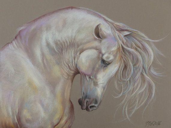 GRAY HORSE Equestrian Art Horse head Horse by CanisArtStudio, #HORSEPORTRAIT, #animalart, #horseart, #Horsepainting