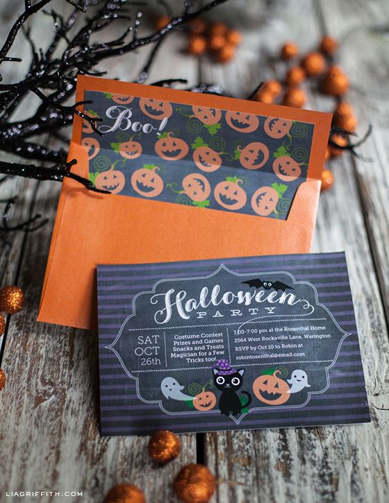 Free printable fabulous Halloween party invitation that you can type in all your party details!  Fun envelope liner too! Love!! From Lia Griffith
