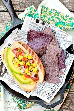 Hawaiian Hot Dogs with Mango Salsa and Pineapple Mustard