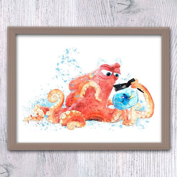 Finding Dory, Finding Nemo Wall art, Hank and Dory, Dory Poster, Disney print Baby shower, Nursery décor, Dory Fish, Nemo birthday ideas V76