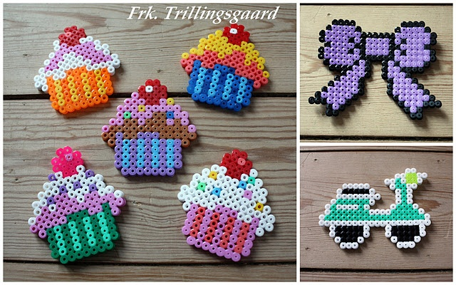 Cupcakes and other designs - perler bead art