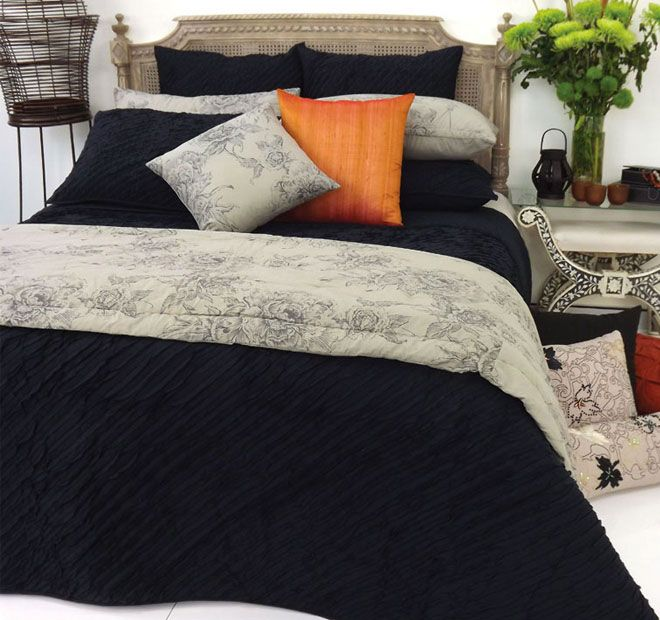 Linea Black DG37 - Features: Cotton voile, Quilted, Diagonal applique design front, Plain reverse, Cool hand wash, Do not rub, wring, soak or bleach, Lay flat to dry away from direct sunlight, Hot iron reverse side only, Dry cleaning recommended - #coverletsandcomforters