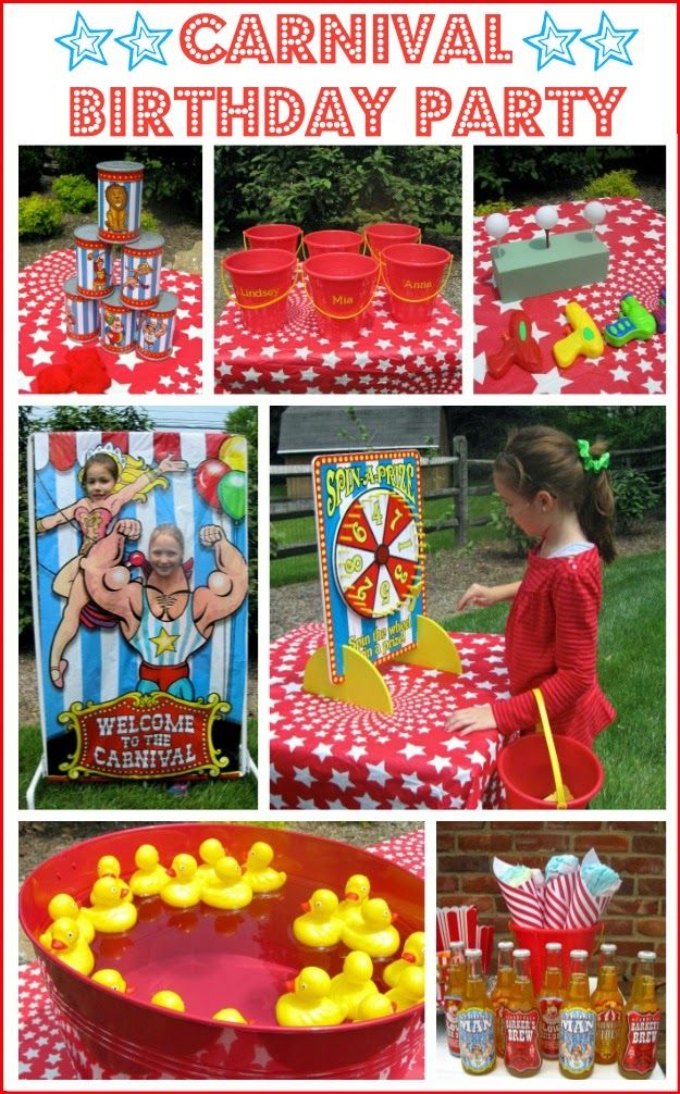 Carnival/Circus party -- Includes several good game ideas that could be used for other kids' parties.