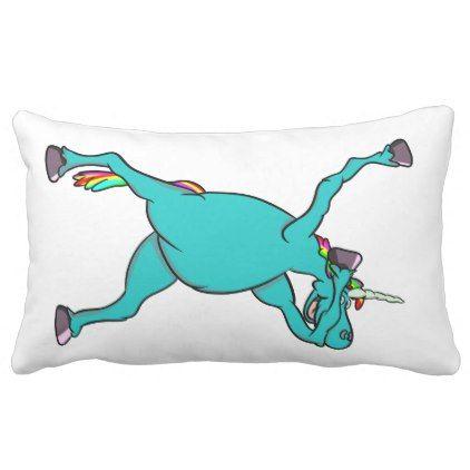 Funny Unicorn Dabbing Dance Lumbar Pillow - horse animal horses riding freedom