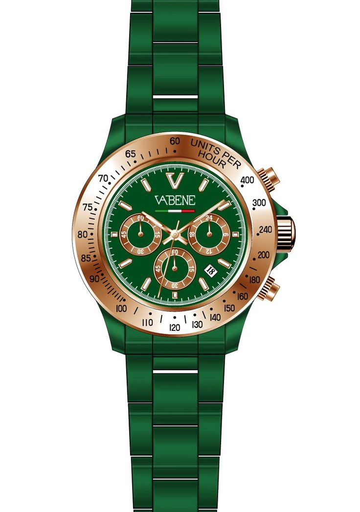vabene watch authentic collection unisex brand new italy genuine crystal   Vabene Chrono Collection Unisex Watch CH501  Case size: 40mm diameter Swiss made quartz battery movement Gold round dial with indices Green plastic polycarbonate case  Green acrylic bracelet with locking clasp Fixed black stainless steel bezel Date calendar function Mineral glass crystal Water resistant to 50m