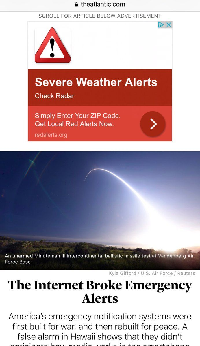 "Screenshot of article in the Atlantic titled ""The Internet Broke Emergency Alerts"" above which is a programmatic ad that says ""severe weather alerts"""