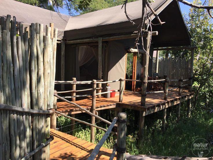So idyllisch haben wir im Jacana Camp (Okavangodelta, Botswana) gewohnt. Links hinter den Holzstäben war die Outdoor-Dusche. Mit Blick auf das Delta 😍
