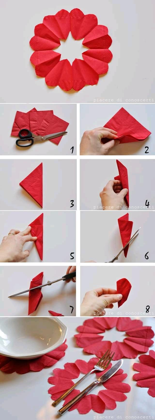 DIY Heart Flower Napkin Decorations | iCreativeIdeas.com Like Us on Facebook ==> https://www.facebook.com/icreativeideas