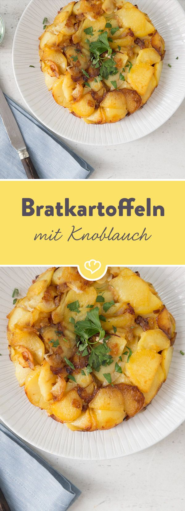 Zur Abwechslung präsentiert sich der Kartoffelklassiker in runder Form. Und zwar als Bratkartoffelkuchen - mit Knoblauch und Petersilie verfeinert.