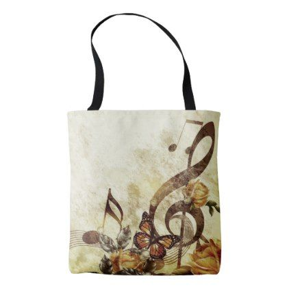 Butterfly Music Notes All-Over-Print Tote Bag - floral style flower flowers stylish diy personalize