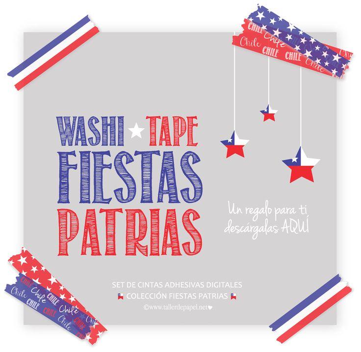 Freebies : Festivos Washi Tapes Digitales de la Colección Fiestas Patrias, para celebrar a mi Lindo País Chile, en su Cumpleaños!