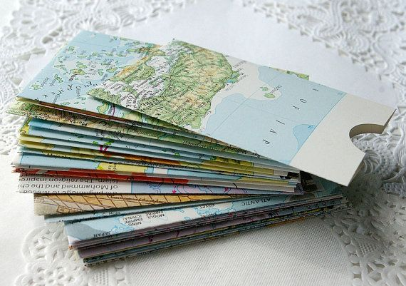 Handmade Envelopes - Business Card - Gift Card - 24 - Map Images