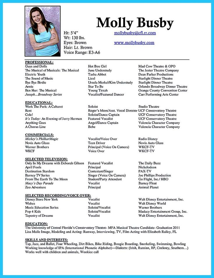 professional voice over resume