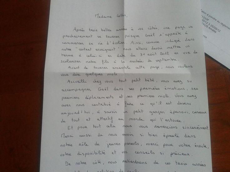 Assistante maternelle, Collin Sylvie, Villeparisis, lettre de remerciements
