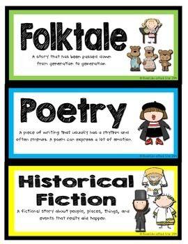 BOOK GENRE LABELS - TeachersPayTeachers.com