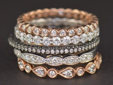 ♥♥♥ Free Shipping ♥♥♥ This beautiful set features 5 of our most popular diamond stacking bands! Meet Cadence, Camila, Mary, Caroline and Lucy, a collection that can be worn in any combination for any occasion! All diamonds are 100% all-natural and certified conflict-free! Aside from the Mary ring which features black diamonds along with bright white diamonds, all diamonds are E-F in color (colorless on the GIA scale) and VS2-SI1 in clarity! This is a must-have set with a whopping total carat…