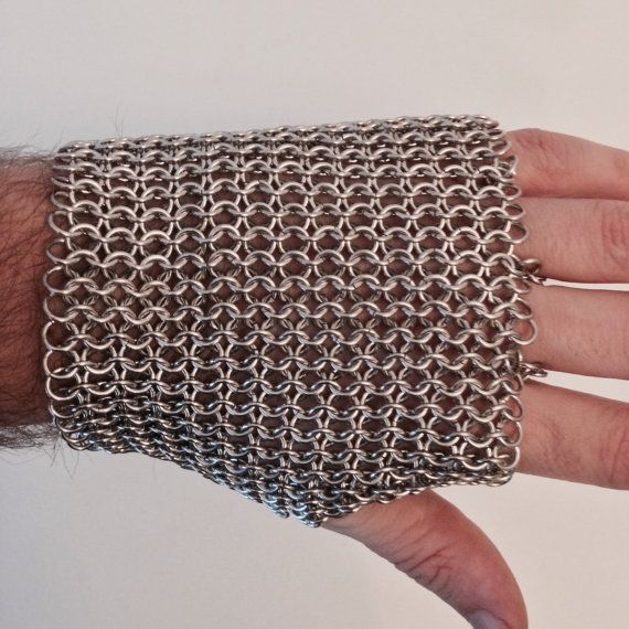 Nickel Free Aluminum Fingerless Chainmail Metal Glove - Silver Steel LARP Armor Costume Cosplay Medieval Viking Post Apocalyptic Mens Womens by JohnsChainmailShop from John's Chainmail Shop. Find it now at http://ift.tt/2ig7fo3!