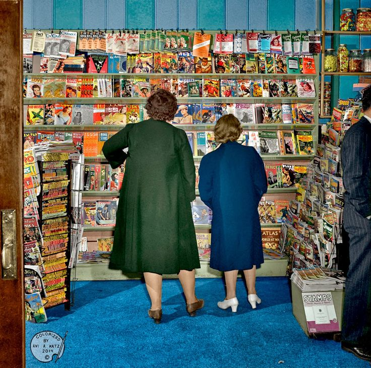 """PAINTED BACK: May 23-30, 1942 Southington, Connecticut.  """"This colorized photo is the result of  what was an almost year-long journey of internet detective-work. My mission was to find all the magazines in this photo  (in their original colors)."""""""