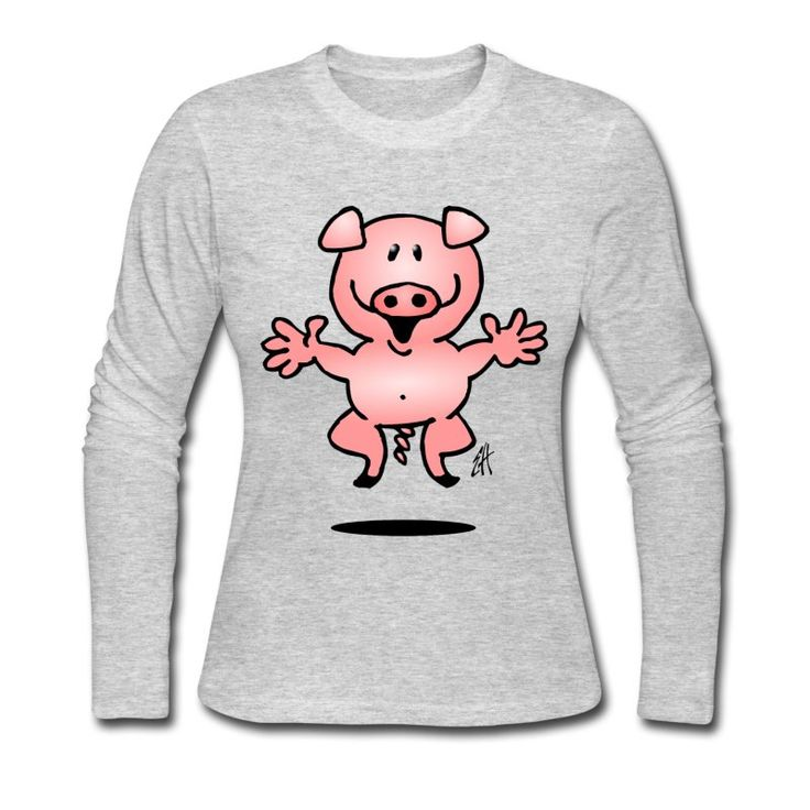 #pig #piggy #longsleeve #Tshirt Pig Women's Long Sleeve Jersey T-Shirt. #Spreadshirt #Cardvibes #Tekenaartje #SOLD