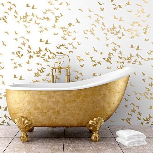 Wallpaper Trends 2016: 19 Stunning Examples of Metallic Wallpaper Gold-bathroom