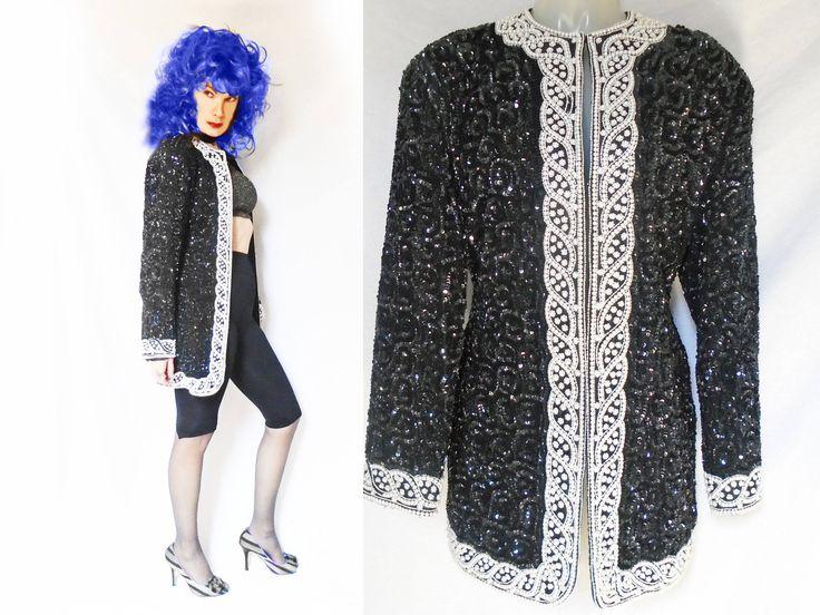 80s Glam Rock Jacket Unisex, Vintage Black Sequin Jacket, Sequin Rocker Jacket, Black Sequin Evening Jacket, Rocker Chic Clothing, LBD Cover by LunaJunctionVintage on Etsy