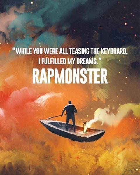 """Mientras que todos estaban burlando al teclado,Cumpli mis sueños. """"Rap Monster"""""""