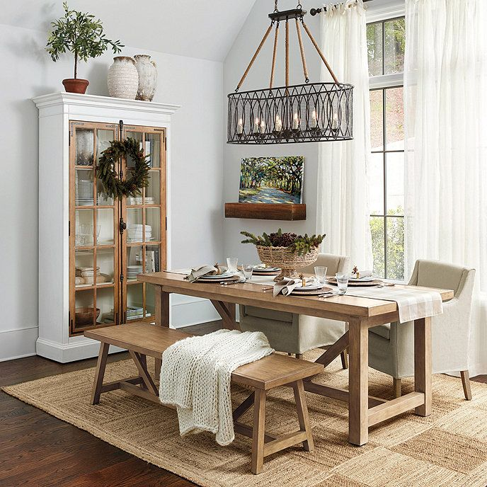Willis Rustic Dining Table Rug Under Dining Table Dining Room Decor Dining Room Rug