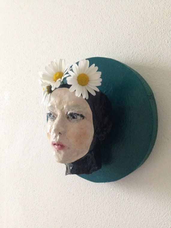 Head Planter  lovely woman  Wall Hanging Face Pot  by morphingpot #head #planter #sculpture #handpainted #face #woman #wall #art