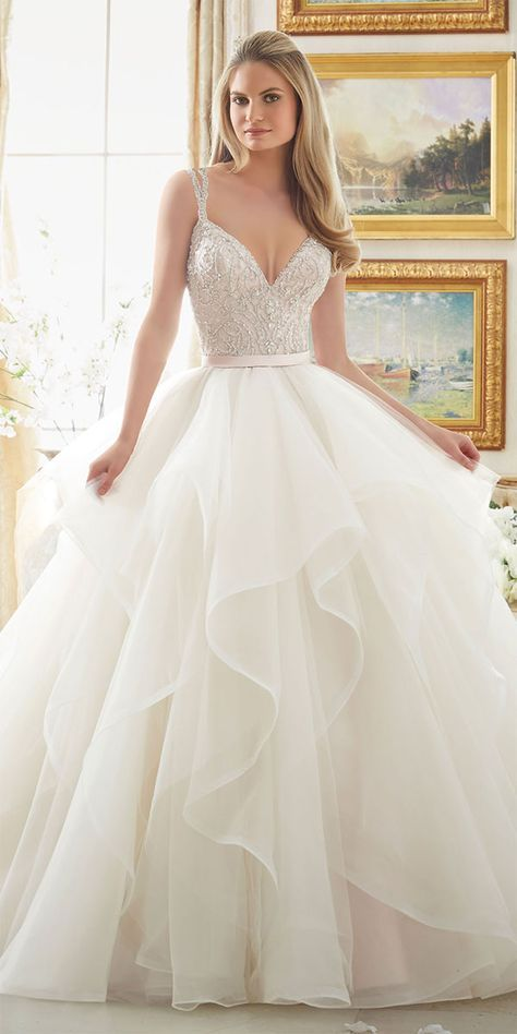 Dazzling Beaded Bodice on Flounced Tulle and Organza Ball Gown Wedding Dress
