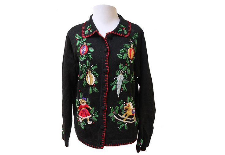 Vintage sieraden lelijk Kerst Vest trui maat door TheBeardedBee