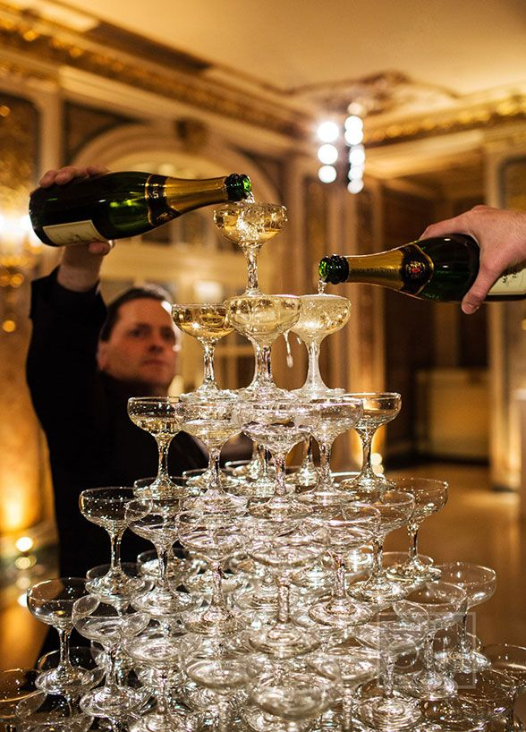 Fabulous champagne tower, Formal Winter Weddings, The Plaza Hotel New York