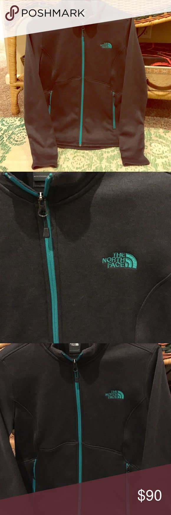 CHARCOAL/TEAL NORTH FACE ZIP-UP JACKET-- SALE!! Super warm and soft, charcoal North Face jacket. Teal logo and zippers. Perfect for casual days, traveling, working out, and when you're on the go. Size medium. Never worn. PRICE LOWERED! Trying to make room in my new closet :) The North Face Jackets & Coats Utility Jackets