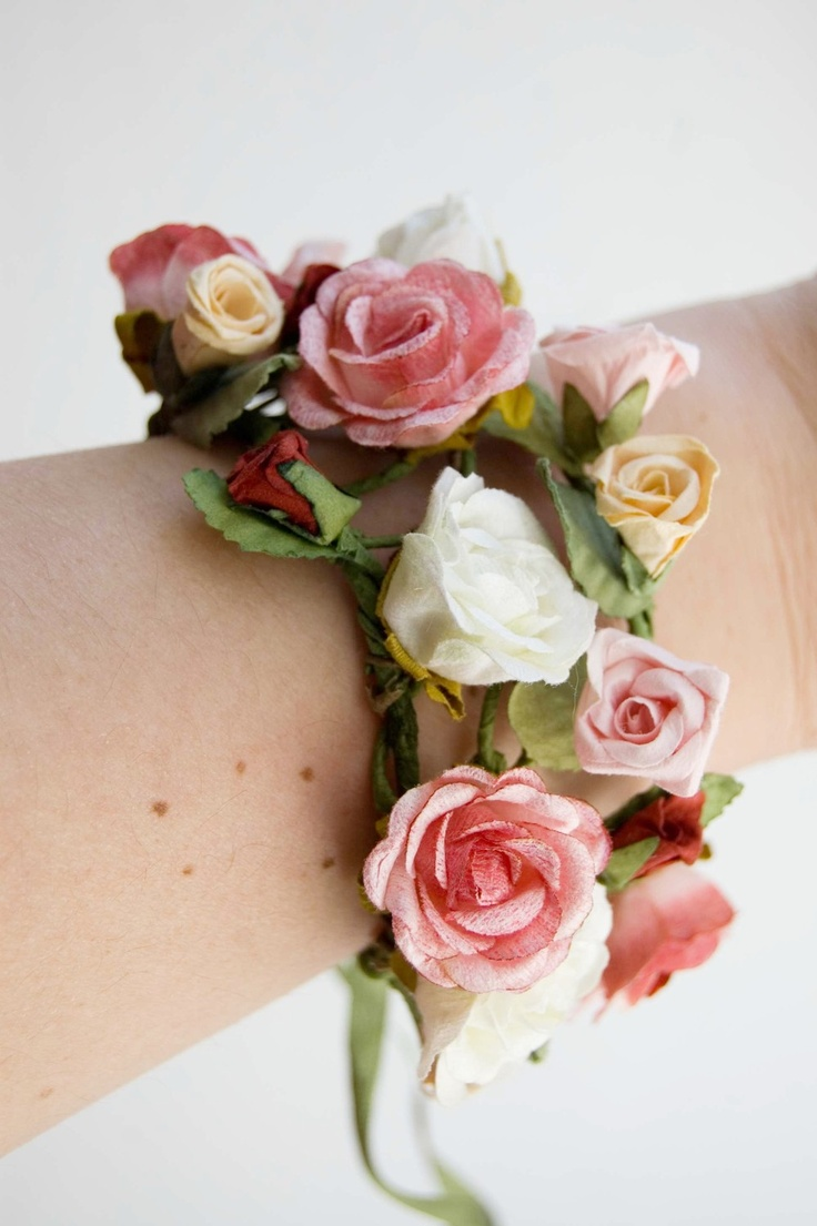 Wrist corsage wedding or prom , rose, pink, yellow, red, green, roses - Bouquet of roses. $18.00, via Etsy.