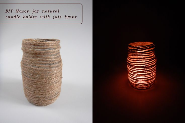 DIY natural mason jar candle holder. / Svícen s jutovým provázkem. #diy #natural #rustic #mason #jar #candle #holder #jute #svícen