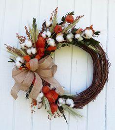 Cotton Wreath, Fall Cotton Wreath, Fall  Wreath, Fall Dried Flower Wreath, Dried Flower Wreath, Fall Dried Floral Wreath, Handmade Wreath by CreationsByCarol13 on Etsy https://www.etsy.com/listing/462242452/cotton-wreath-fall-cotton-wreath-fall