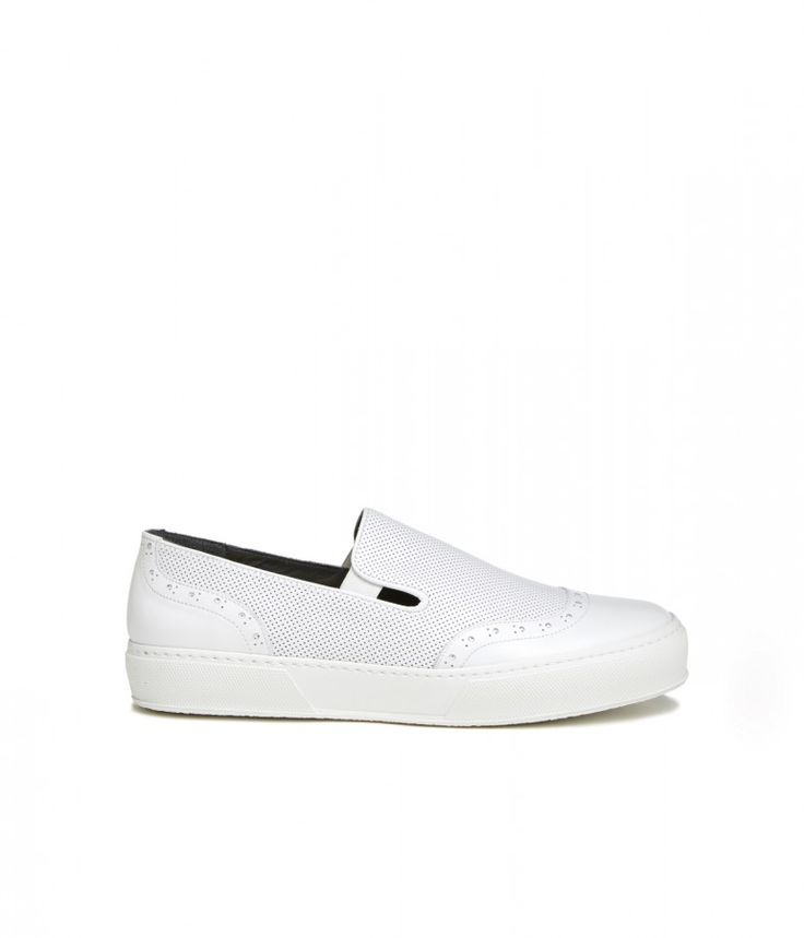 TILO-Communal Slip-on sneakers in perforated smooth calf, rubber sole. #robertclergerie #sneakers