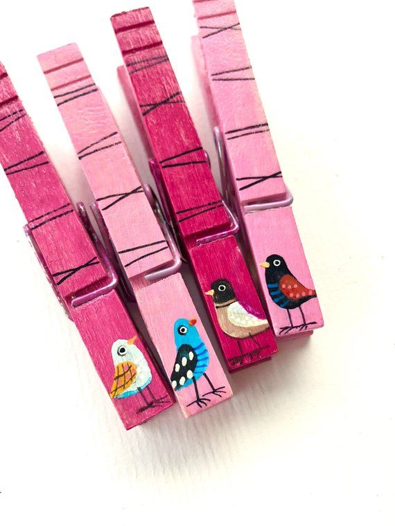 BIRD CLOTHESPINS hand painted magnets wooden cute birds