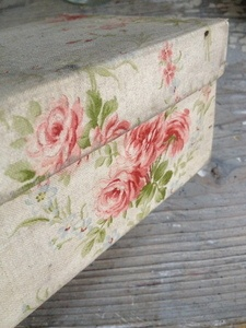 French Fabric Covered Box  FleaingFrance Brocante Society